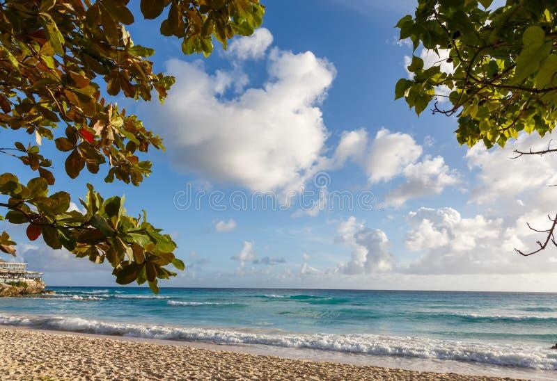 Sandy Beach bonito e água azul imagem de stock royalty free