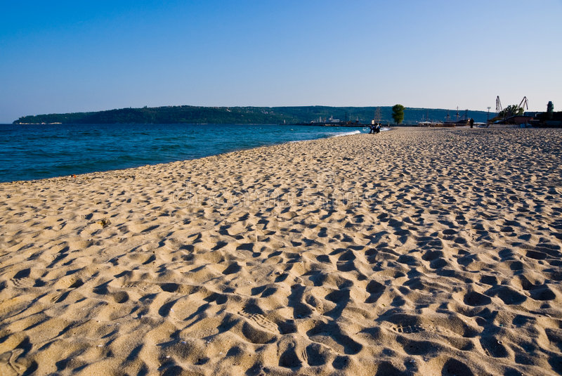 Sandy beach in Bulgaria stock photography