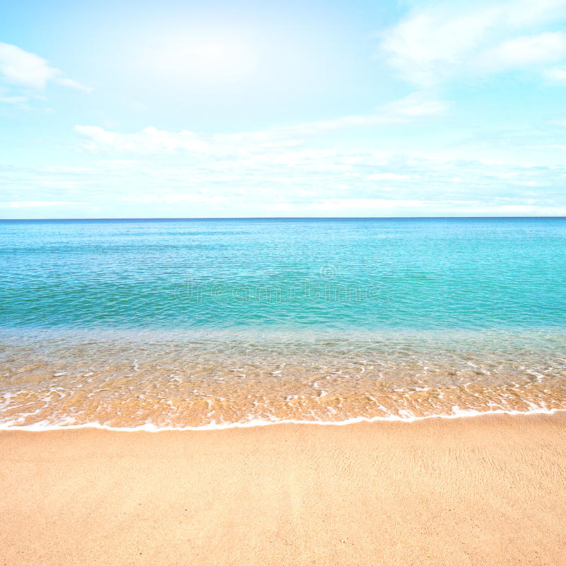Sandy Beach: Sandy Beach With Calm Water Against Blue Skies. Stock