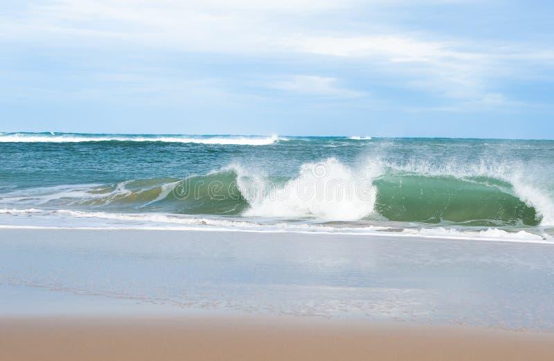 Sandy Beach com esmagamento de ondas fotografia de stock