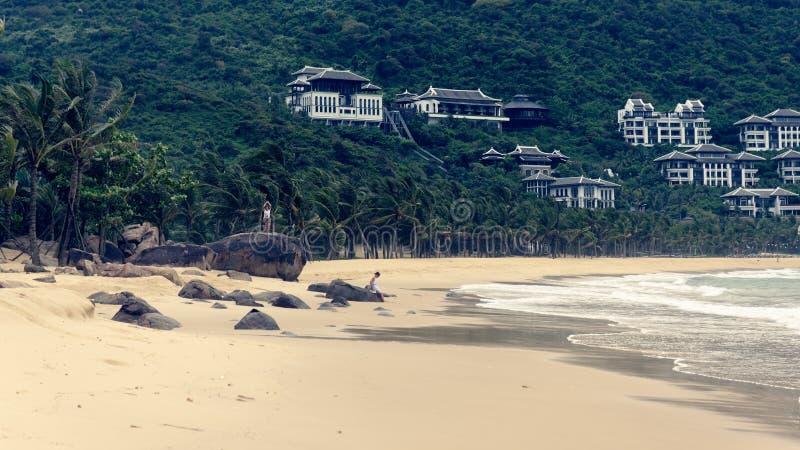 Sandy beach in Da Nang stock photography