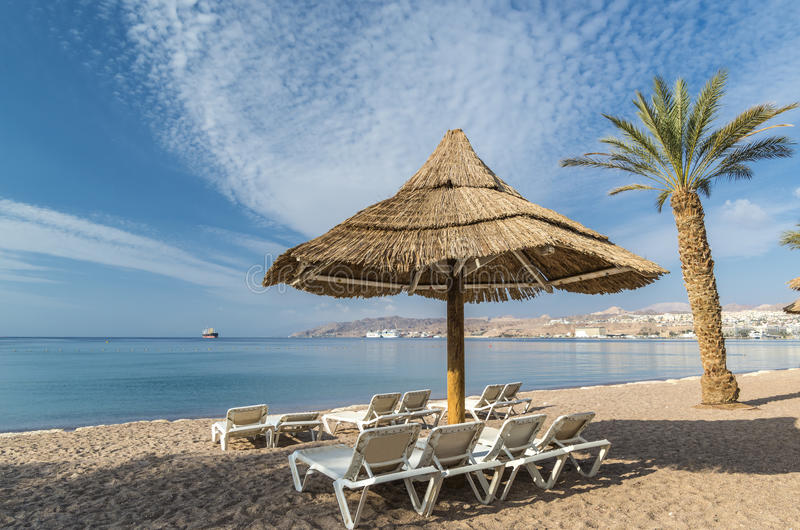 Sandy beach of Eilat, Israel. Eilat is a famous resort and recreation city in Israel stock photography