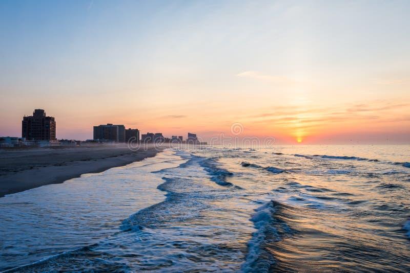 Sandy Beach en playa de la ciudad del ventnor en Atlantic City, New Jersey a imagenes de archivo