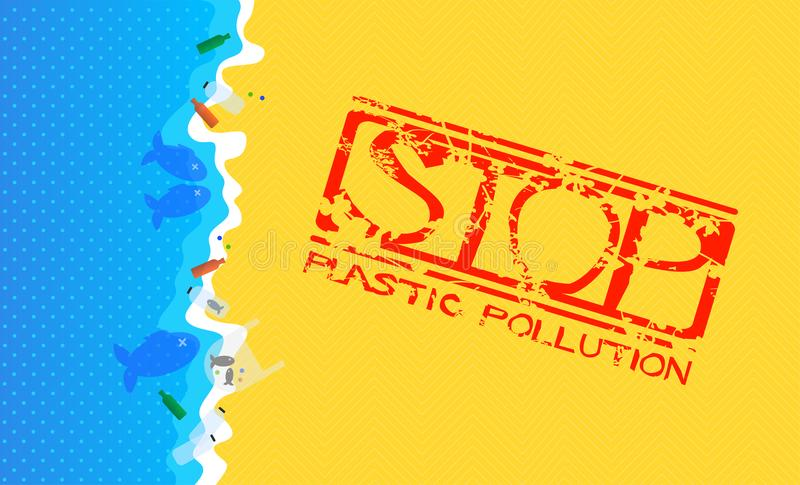 Sandy Beach with Flooded Plastic Waste. Grunge Stamp with Text: Stop Plastic Pollution. vector illustration