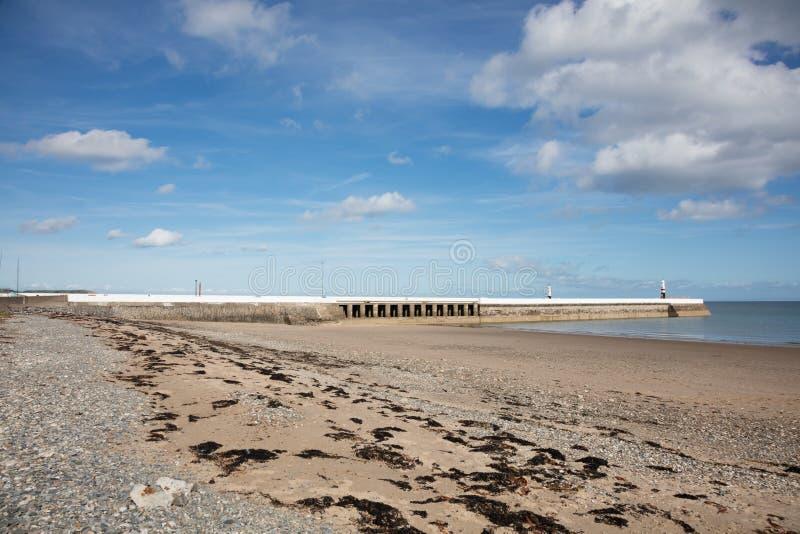 Sandy Beach Isle of Man. Sandy beach and breakwater of Ramsey Isle of Man British Isles royalty free stock photography