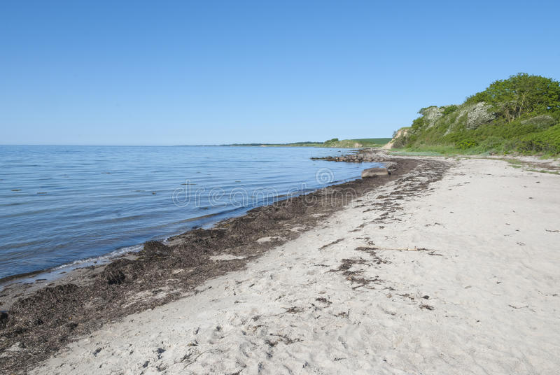 Sandy beach at Langeland island Denmark. In spring stock photography