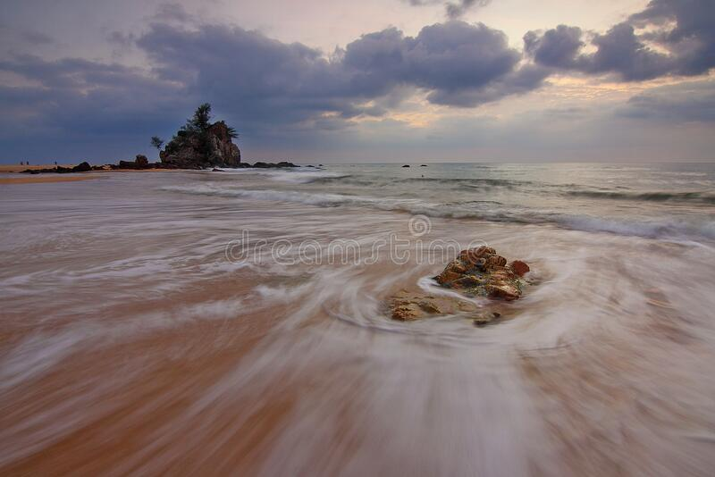 Sandy beach at low tide royalty free stock photos