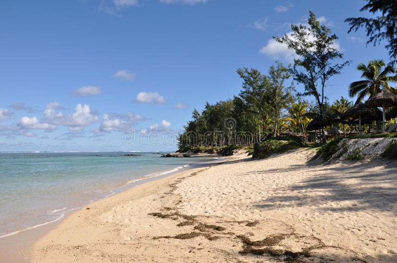 Sandy beach - Mauritius island stock images