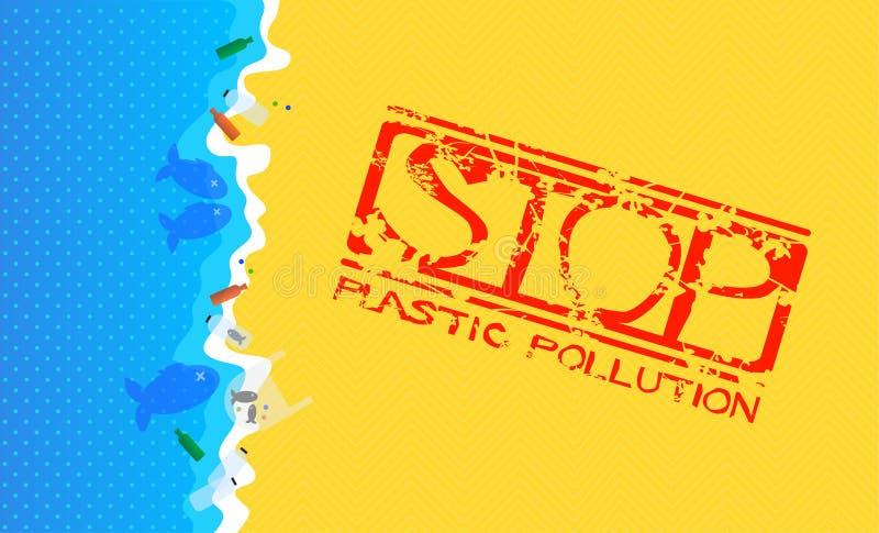 Sandy Beach met Overstroomd Plastic Afval Grungezegel met Tekst: Einde Plastic Verontreiniging vector illustratie