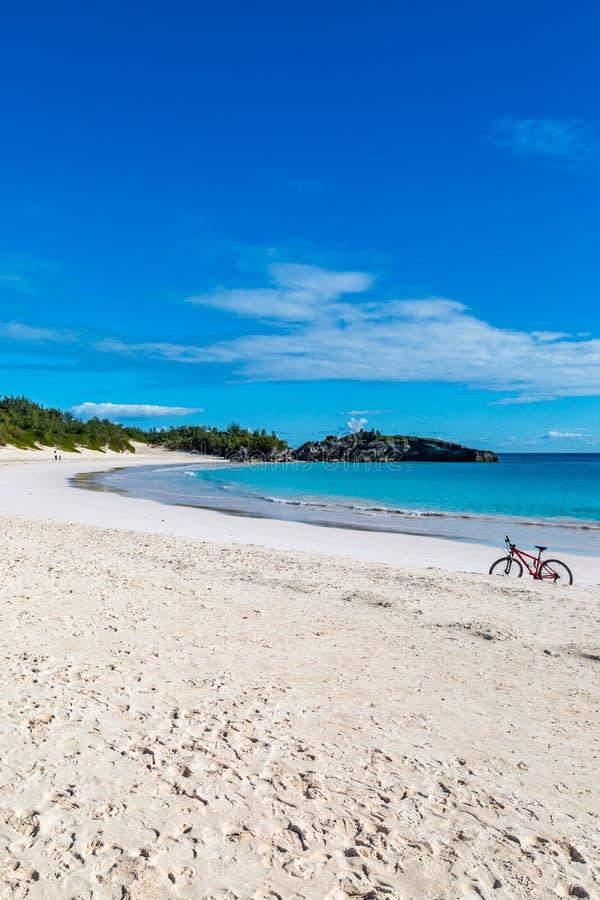 Sandy Beach na baía em ferradura, Bermuda imagem de stock