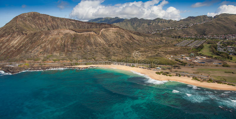 Sandy Beach Oahu Hawaii. This is a view of Sandy Beach on the south shore of Oahu. It is near Hanauma Bay. This is a famous hawaiian bodysurfing beach royalty free stock photography