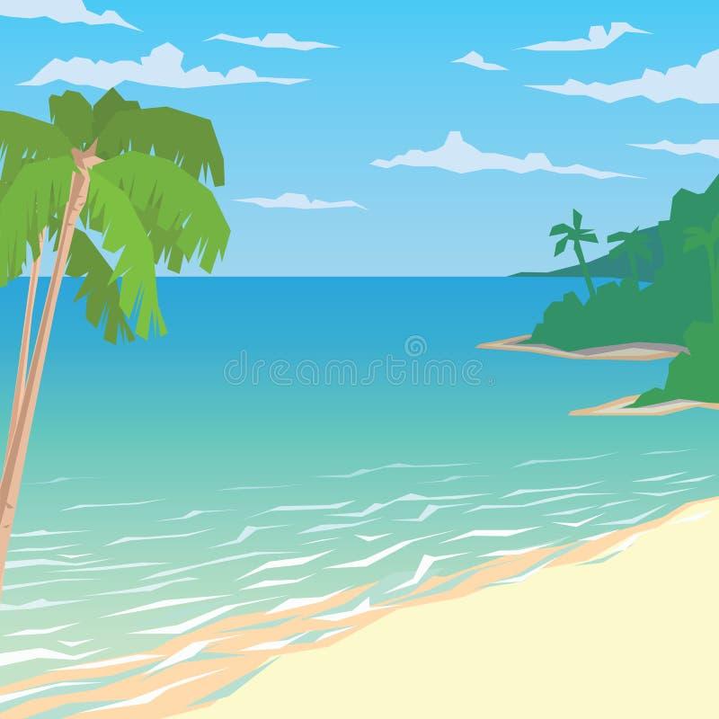 Sandy Beach With Palms Paisagem tropical do oceano ilustração stock
