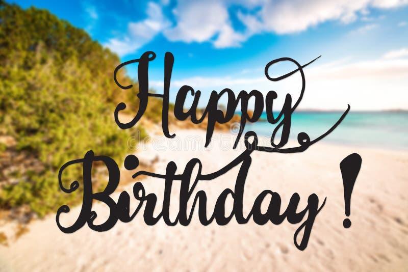 Sandy Beach, Sardinia, Beautiful Landscape, Text Happy Birthday. Sandy Beach On The Island Of Sardinia. English Text Happy Birthday. Beautiful Scenery And royalty free stock photography