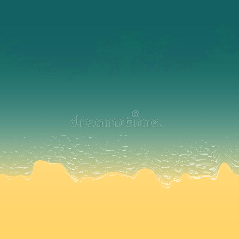 Sandy beach with sea and foamy waves view from above. vector illustration