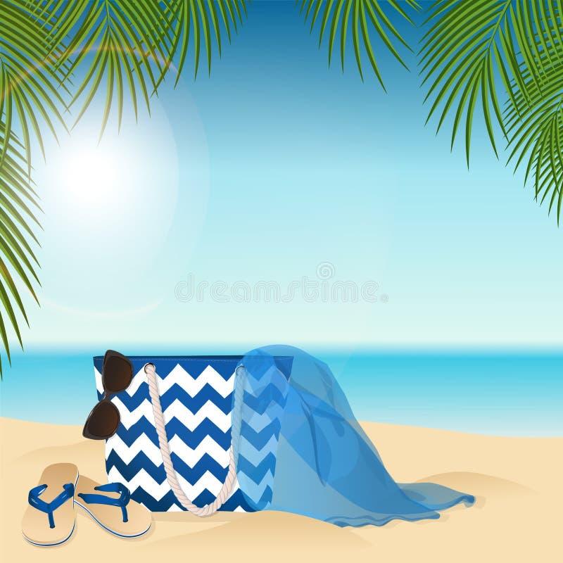 Sandy Beach Sommerzubehör stock abbildung