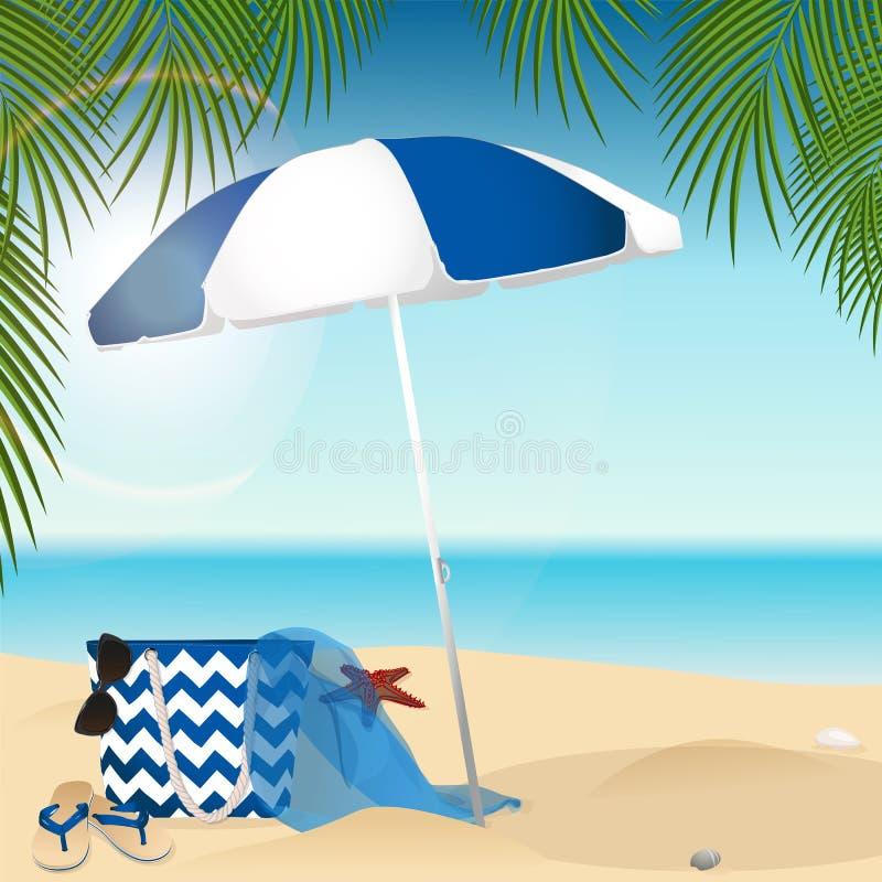 Sandy Beach Sommerzubehör lizenzfreie abbildung