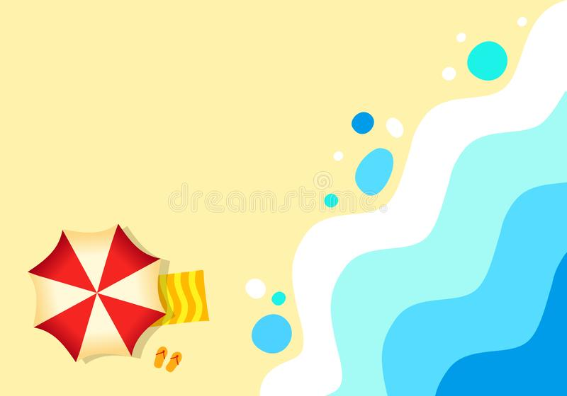 Sandy beach tropical background ocean, abstract sea. Sunny summer day, royalty free illustration