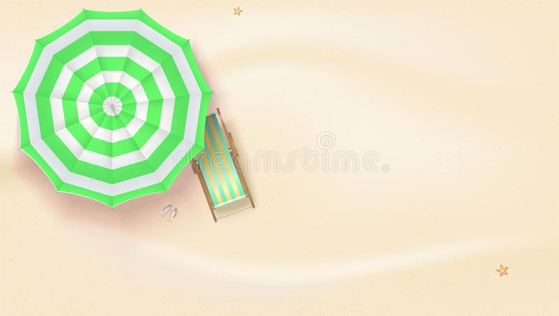 Sandy Beach Vista superior de la playa del verano con el paraguas de sol y las sillas de cubierta Fondo del vector de los mejores ilustración del vector