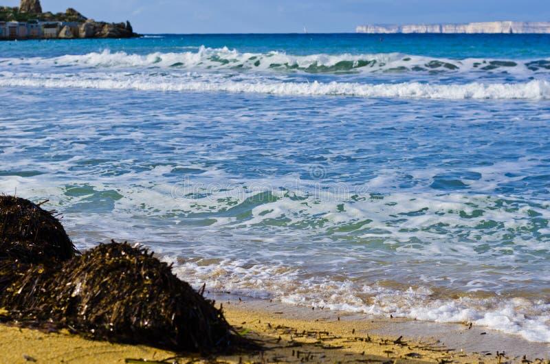 Sandy beach in winter, Malta royalty free stock photos