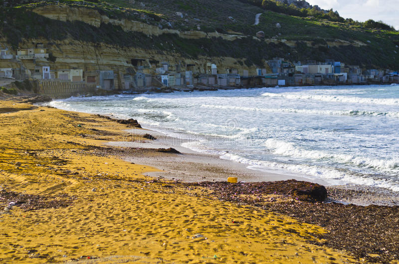 Sandy beach in winter, Malta royalty free stock images