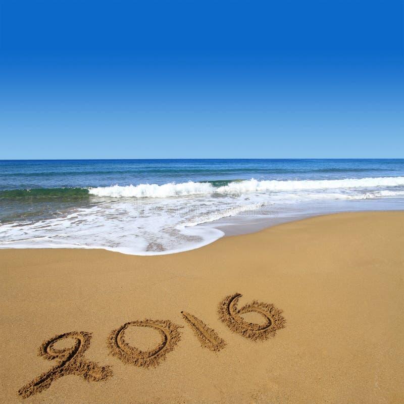 2016 on sandy beach stock image