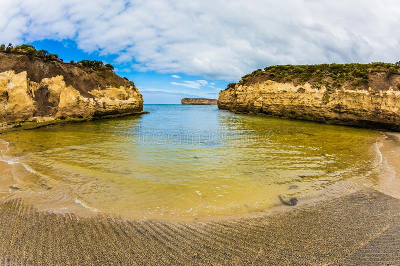 Sandy beaches of the Pacific. Great Ocean Road of Australia. Picturesque seashore, coastal cliffs and sandy beaches of the Pacific. The concept of exotic, active royalty free stock images