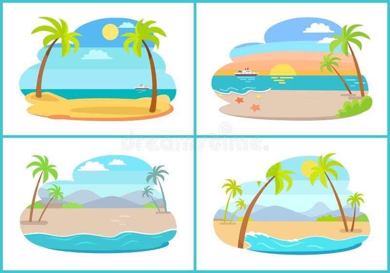 Sandy Beaches tropical vazio com as palmas altas ajustadas ilustração royalty free