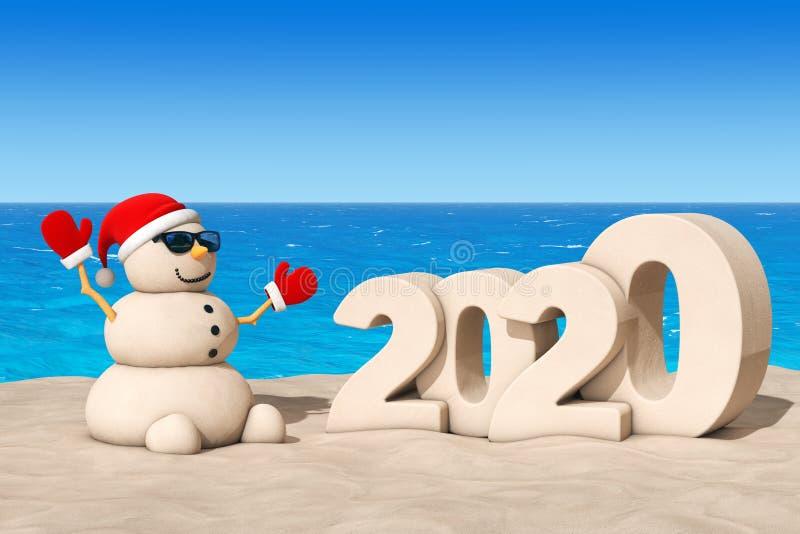 Sandy Christmas Snowman em Sunny Beach com Sinal de Ano Novo 2020 Renderização 3d ilustração do vetor