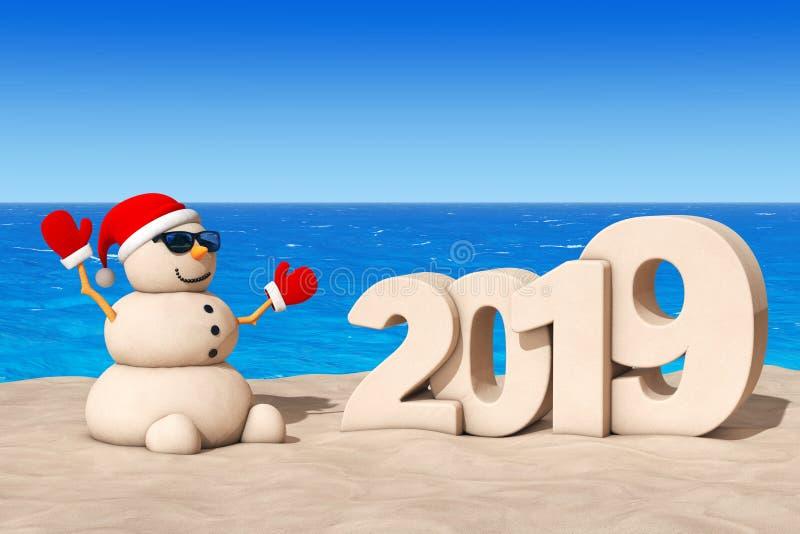 Sandy Christmas Snowman em Sunny Beach com sinal do ano 2019 novo ilustração do vetor