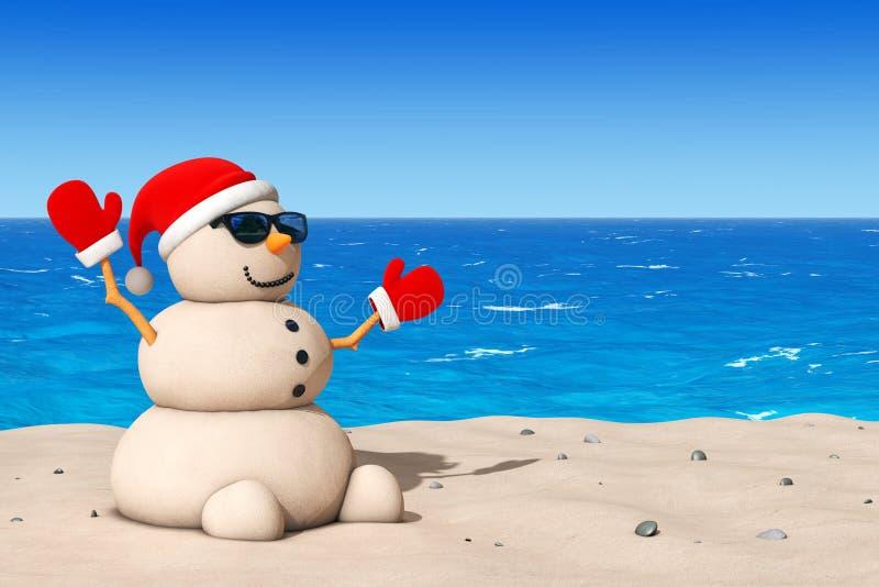 Sandy Christmas Snowman at Sunny Beach. 3d Rendering royalty free illustration