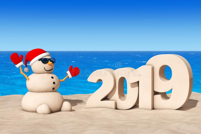 Sandy Christmas Snowman in Sunny Beach met 2019 Nieuwjaarteken vector illustratie