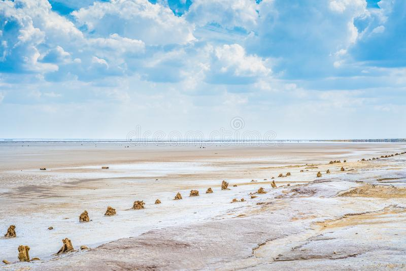 Sandy coastline of the salty lake Baskunchak. Lifeless hot terrain without vegetation and animals. Russia. Astrakhan region stock photos