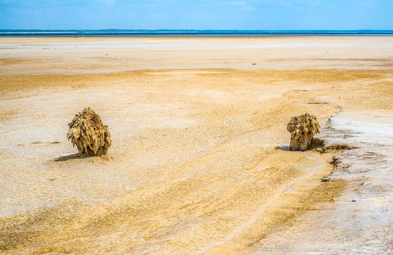Sandy coastline of the salty lake Baskunchak. Lifeless hot terrain without vegetation and animals. Russia. Astrakhan region stock image