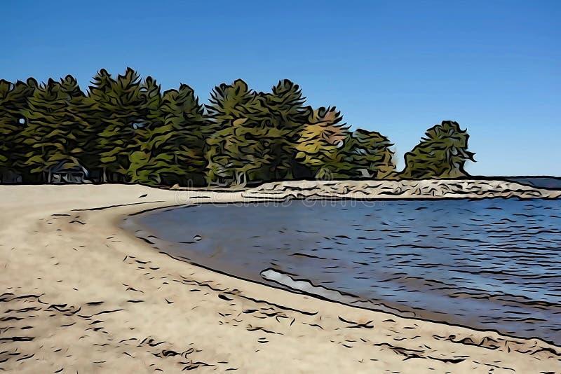 Sandy cove, blue lake, pine trees royalty free stock photos