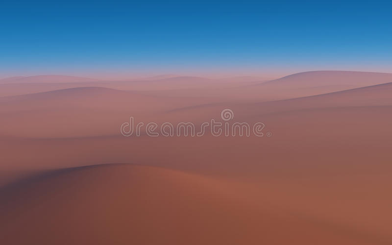 Sandy desert. Computer graphics. Sandy desert and cloudless sky royalty free illustration