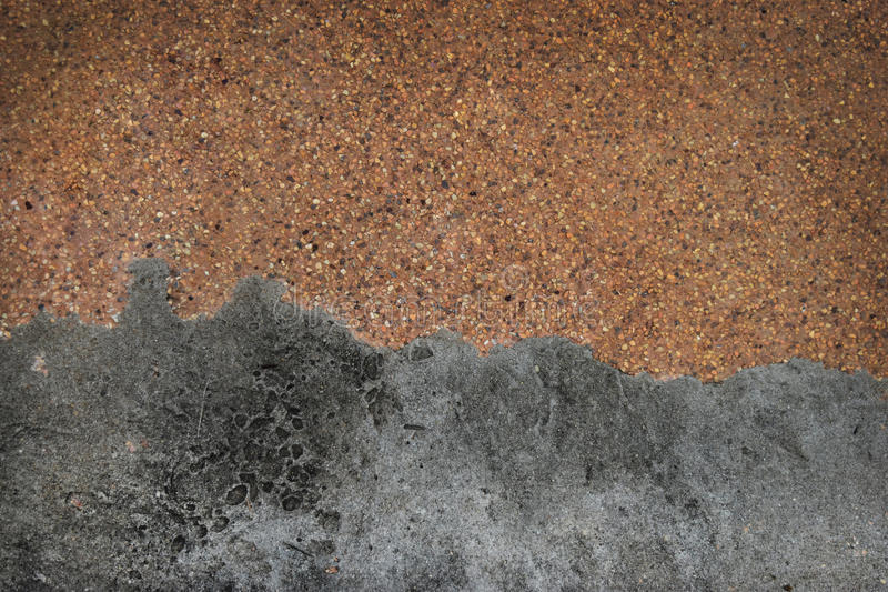 Sandy gravel surface and old cement floor ,Top view with copy space and for web design or graphic art image. Sandy gravel surface and old cement floor , Top stock photo