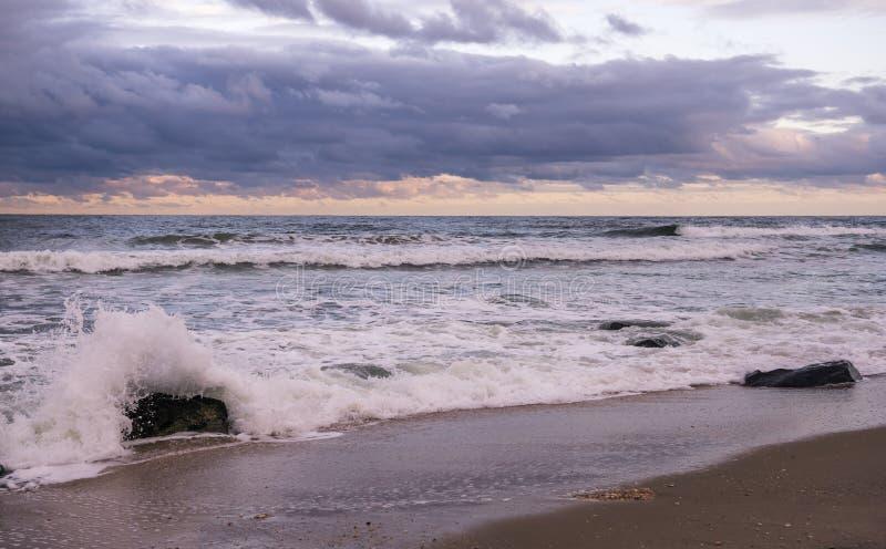 Sandy Hook Beach al tramonto fotografia stock libera da diritti
