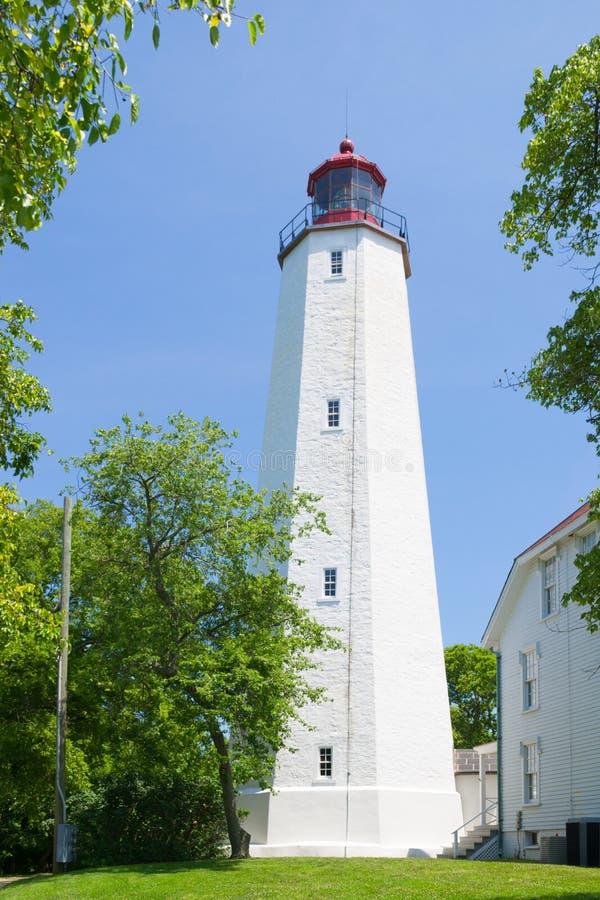 Sandy Hook Lighthouse Monmouth County av nytt - ärmlös tröja, USA fotografering för bildbyråer