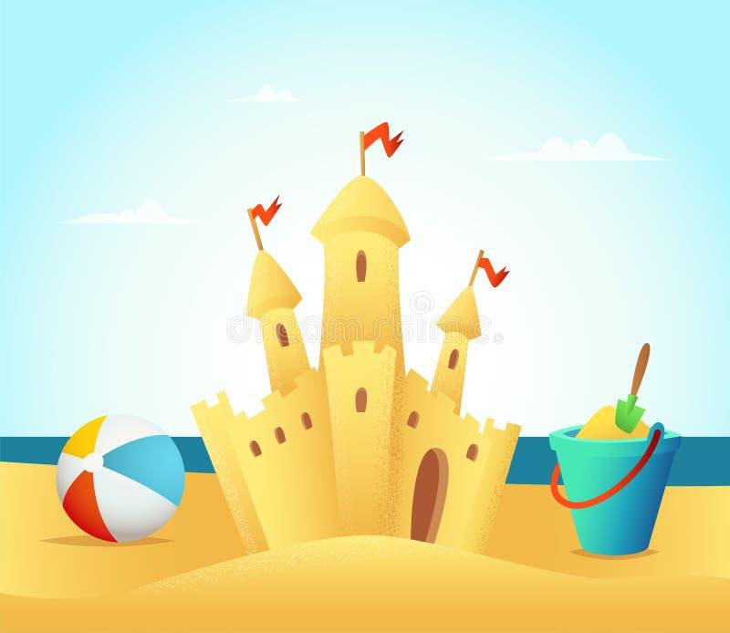 Sandy kasztel na plażowym i dennym tle również zwrócić corel ilustracji wektora ilustracja wektor
