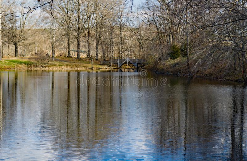 Bridge and Lake at Smith Mountain Dam Picnic Area. Sandy Level, VA – January 8th:Footbridge and lake at Smith Mountain picnic area at the Smith Mountain royalty free stock photography