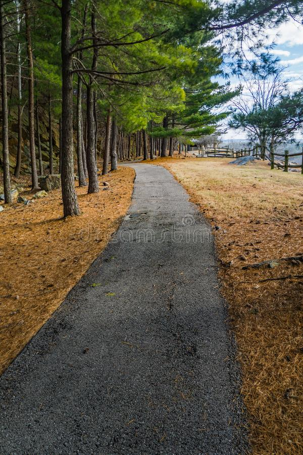Paved Walking Trail by the Smith Mountain Dam. Sandy Level, VA – January 8th: Paved walking trail overlooking the Smith Mountain Dam located in Sandy royalty free stock image