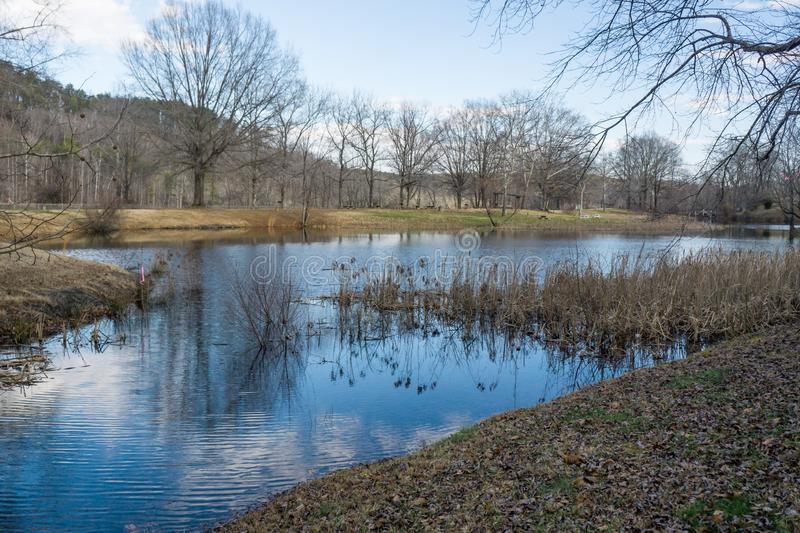 Picnic area at the Smith Mountain Hydroelectric Dam - 2. Sandy Level, VA – January 8th:Picnic area at the Smith Mountain Hydroelectric Dam located, in stock photos