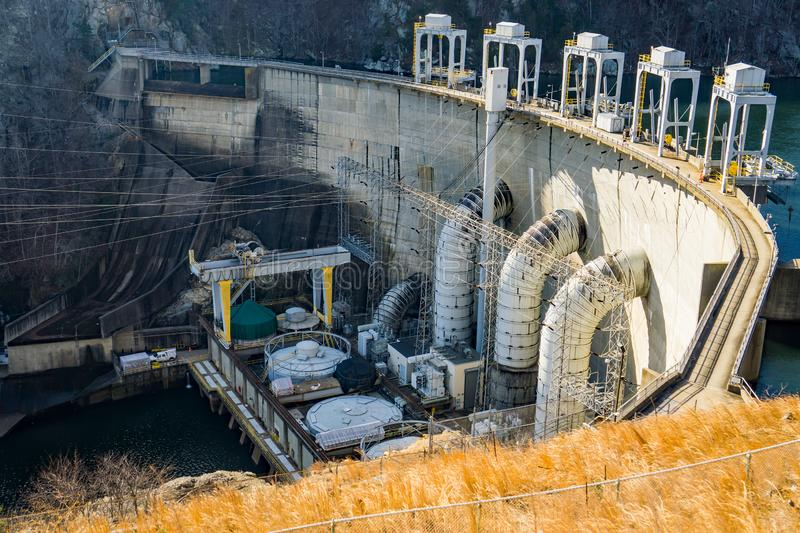 The Generating Units at Smith Mountain Hydroelectric Dam. Sandy Level, VA – January 8th:the power generating units at Smith Mountain Hydroelectric Dam royalty free stock photography