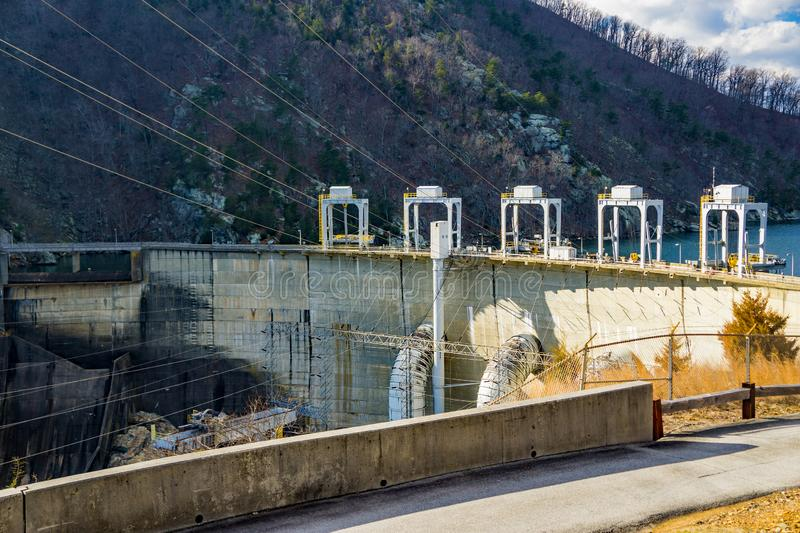 Power Lines at the Smith Mountain Hydroelectric Dam. Sandy Level, VA – January 8th:Power Lines at the Smith Mountain Hydroelectric Dam located, in Bedford royalty free stock images