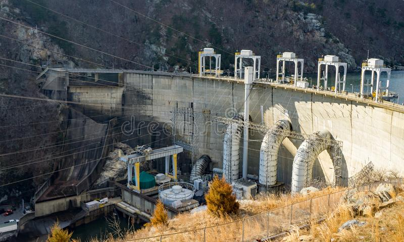 Power Lines at the Smith Mountain Hydroelectric Dam - 2. Sandy Level, VA – January 8th:Power Lines at the Smith Mountain Hydroelectric Dam located, in royalty free stock photos