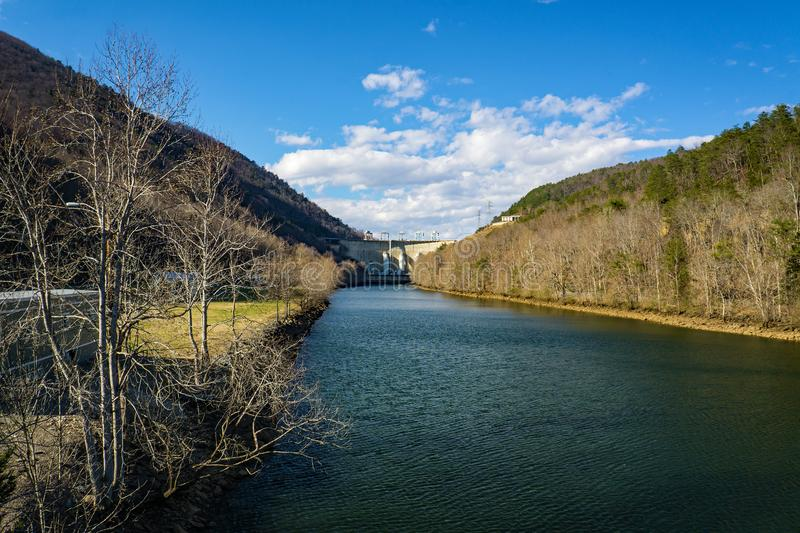 Roanoke River View of the Smith Mountain Hydroelectric Dam - 2. Sandy Level, VA – January 8th:Roanoke River view of the Smith Mountain Hydroelectric Dam royalty free stock photography