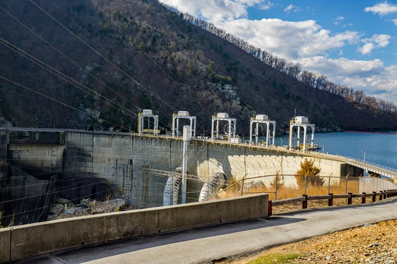 Smith Mountain Hydroelectric Dam. Sandy Level, VA – January 8th:The Smith Mountain Hydroelectric Dam located, in Bedford and Pittsylvania Counties royalty free stock photos