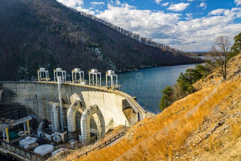 Smith Mountain Hydroelectric Dam and Smith MOuntain Lake. Sandy Level, VA – January 8th:Smith Mountain Lake and Smith Mountain Hydroelectric Dam located royalty free stock photo