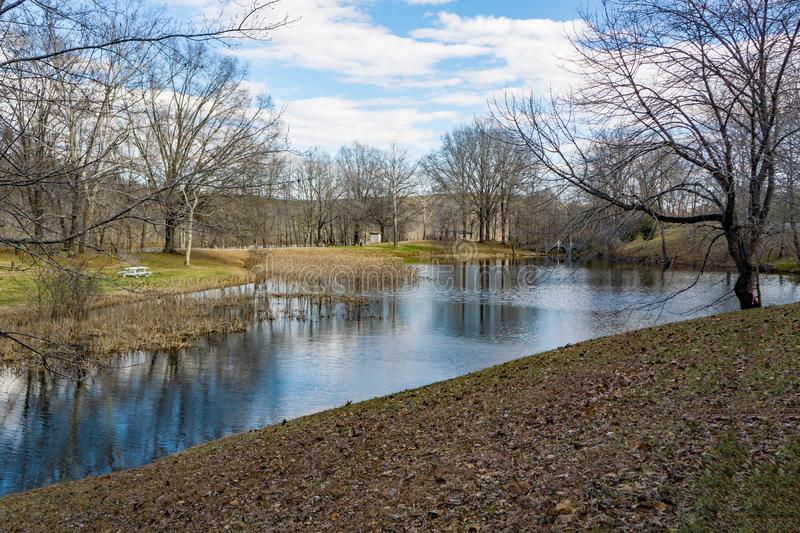 View of the Lake at Smith Mountain Dam Picnic Area. Sandy Level, VA – January 8th:A view of the lake at Smith Mountain picnic area at the Smith Mountain royalty free stock photo