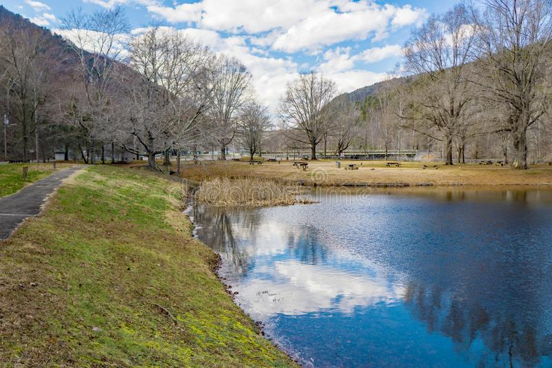 View of Smith Mountain Picnic Area. Sandy Level, VA – January 8th:A view of Smith Mountain picnic area at the Smith Mountain Hydroelectric Dam located, in royalty free stock images